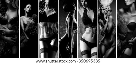 Black and white collage. Sexy women posing in beautiful lingerie over vintage background. - stock photo