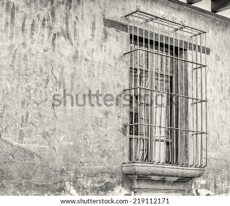 black and white colonial balcony - stock photo