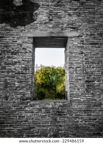 Black and white color of ancient  brick wall with a window view to the green trees of Ayuttaya  province in Thailand.  - stock photo