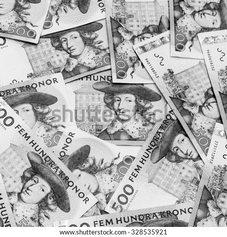 Black and white color of five hundred Swedish Krona currency,money got profit from business - stock photo