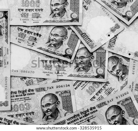 Black and white color of Indian rupee currency,money ready for exchange - stock photo