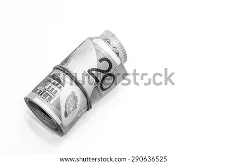 Black and white color of twenty dollars Australian notes roll on white background