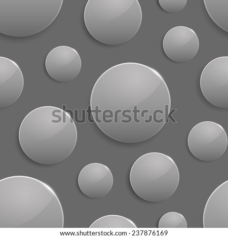 Black and white colored circles with light spot and reflection. Seamless background. Geometric pattern - stock photo