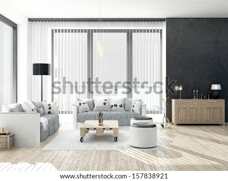 Black and white colored Living Room with floor to ceiling windows - stock photo