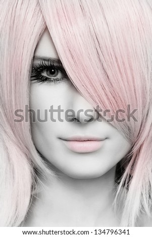 Black and white colored portrait of young beautiful woman with stylish haircut - stock photo