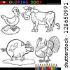 Black and White Coloring Book or Page Cartoon Illustration Set of Funny Farm and Livestock Animals for Children - stock photo