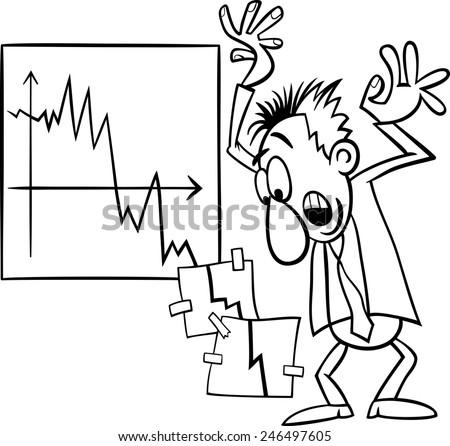 Black and White Concept Cartoon Illustration of Economic Crisis and Panic Businessman - stock photo