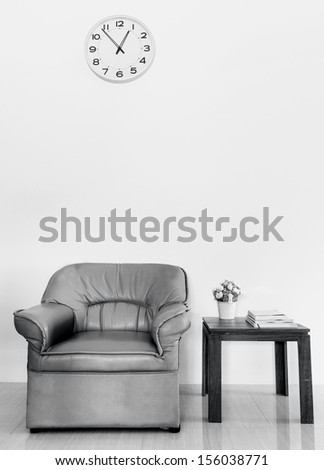Black and white Contemporary living room interior - stock photo
