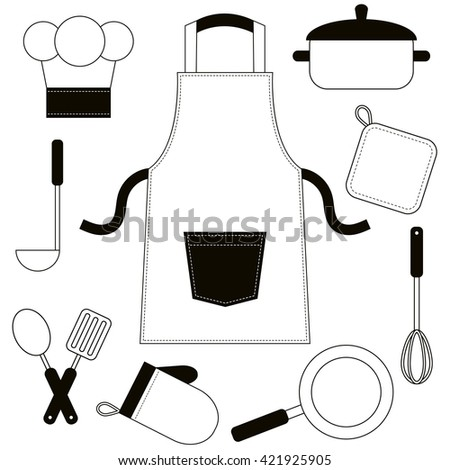 Black and white cooking utensils and kitchenware icons. Raster version - stock photo
