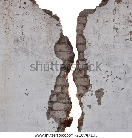 black and white cracked wall texture  - stock photo