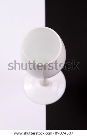black and white cup over black and white background