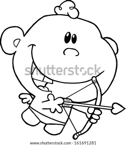 Black And White Cute Cupid Flying With Bow And Arrow. Raster Illustration Isolated on white - stock photo