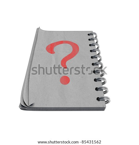 black and white 3D notebook with red questionmark, isolated on white background. - stock photo