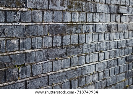 Black And White Dark Blue Brick Wall Side View Background