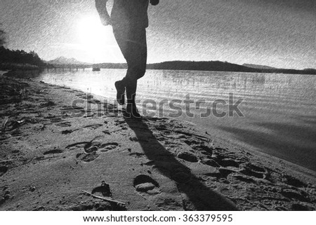 Black and white dashed retro sketch. Running man on beach. Sportsman run in baseball cap during the sunrise above sandy beach