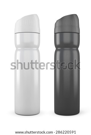Black and white deodorant cans isolated on white background. Deodorant cans templates for your design. 3d illustration. - stock photo