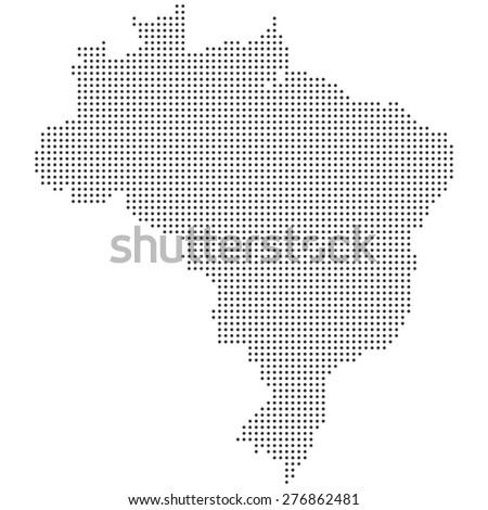 Black White Detailed Dotted Brazil Map Stock Vector - Brazil map illustration