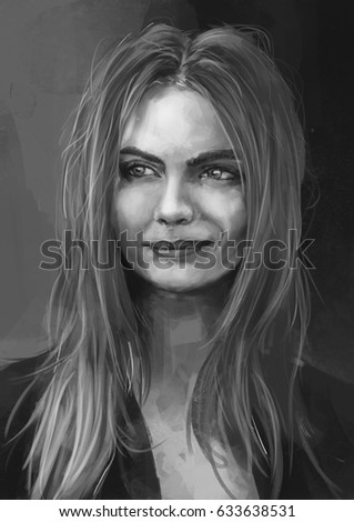 Black and white digital painting of cara delevingne