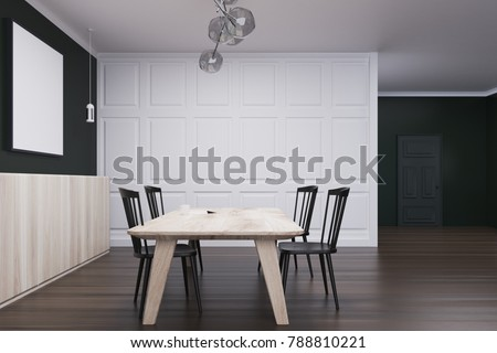 Black and white dining room interior with a wooden floor, a door, and a horizontal poster above a table with chairs. A side view. 3d rendering mock up