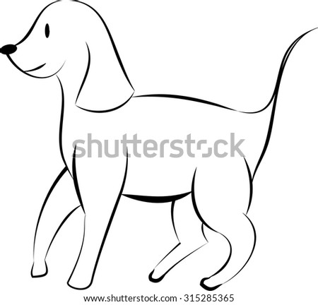 black and white dog or puppy drawing