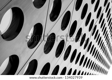 Black and white doted architecture abstract with perspective - stock photo