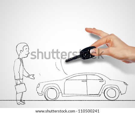 Black and white drawing with car and person standing near it - stock photo