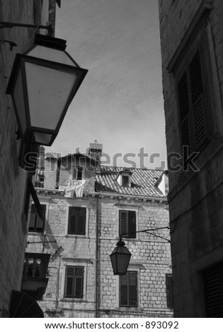 Black and white Dubrovnik street. - stock photo