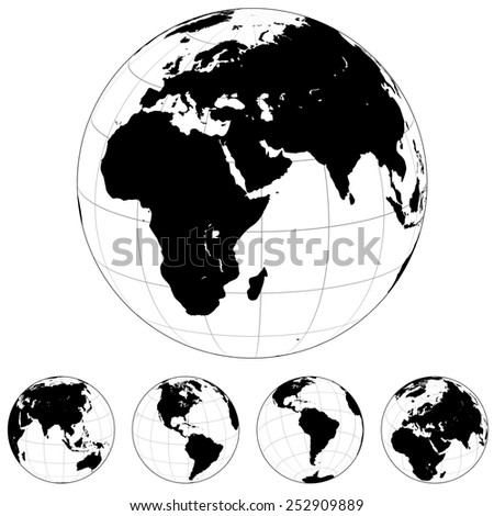 Black and white Earth globes isolated on white. - stock photo