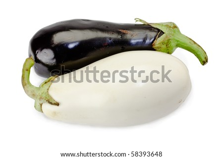 Black and white eggplants isolated on white - stock photo