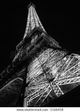 Black and white eiffel tower - stock photo