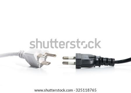 Black and white electric plug - stock photo