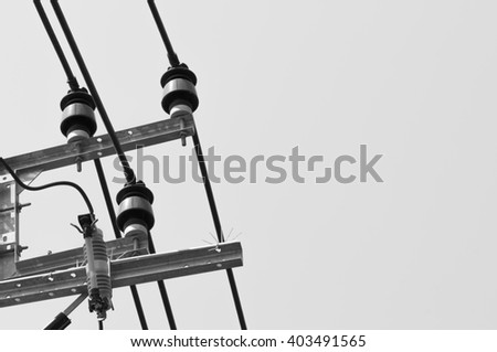 Black and white electric wires.background - stock photo