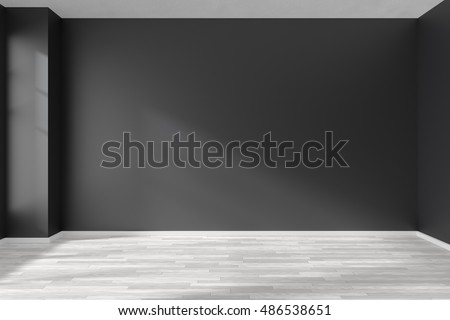 Black and white empty room with white hardwood parquet floor, black walls and sunlight from window on the wall minimalist interior, 3d illustration