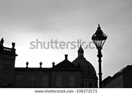 Black and White Exterior Top View of the Palace in Copenhagen - stock photo