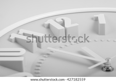 black and white face of the clock. 12 hours - stock photo