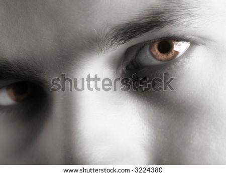 Black and white facial shot. Short DOF. High Key - stock photo