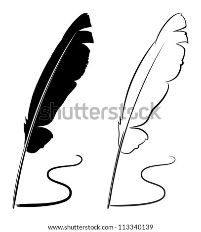 Black and white feathers - raster version - stock photo