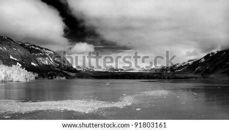Black and White fine art image of Glacier Bay Alaska. - stock photo