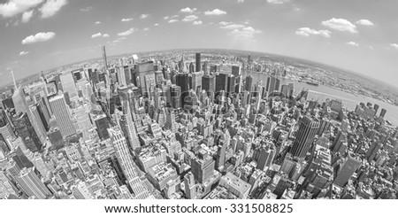 Black and white fisheye lens aerial view of Manhattan, New York, USA. - stock photo