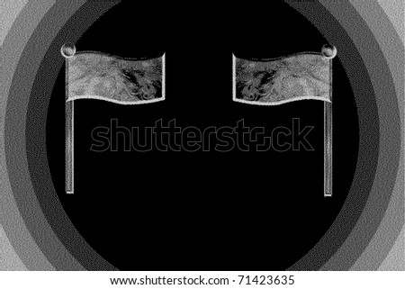 Black and white flags - stock photo
