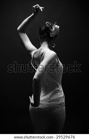 black and white flamenco dancing young lady - stock photo