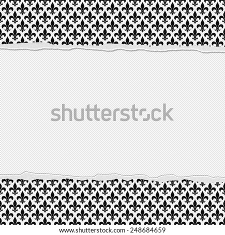 Black and White Fleur-De-Lis Frame with Torn Background with center for copy-space, Classic Torn Fleur-De-Lis Frame - stock photo