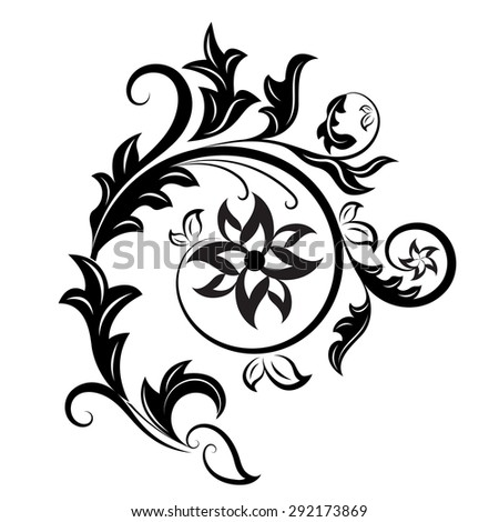 Black and white floral design element isolated on white background. - stock photo