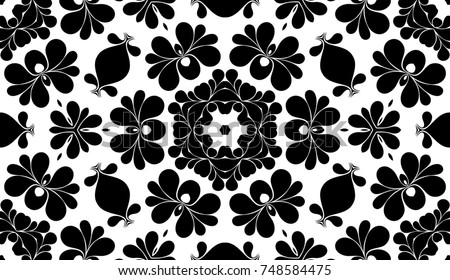 Black and white floral pattern with beautiful simple ornate, invitation or interior background