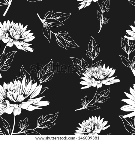 black and white floral seamless pattern with hand drawn flowers. monochrome vector background. raster version, vector file also available in gallery - stock photo