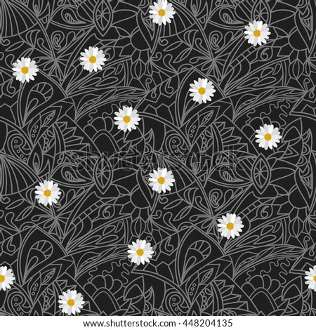 Black and white Flower daisies geometry stripped  seamless pattern - stock photo