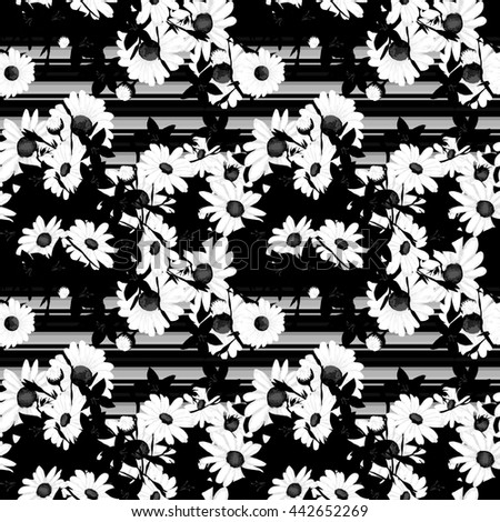 Black and white Flower sketch bouquet hand drawing seamless pattern - stock photo