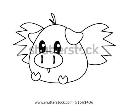 Flying Pig Coloring Pages Flying Pig Coloring pa