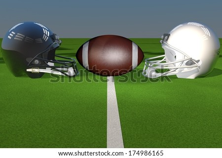 Black and white football helmets over green field, 3d render - stock photo