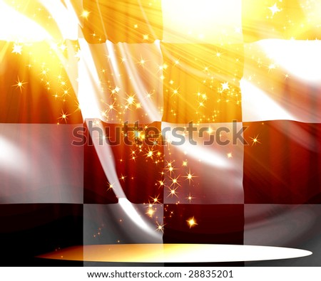 black and white formula flag with glitters on it - stock photo